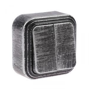 """Выключатель """"Элект"""" VA 56-232-ЧС, 6 А, 2 клавиши, наружный, цвет черный под серебро 4364444"""