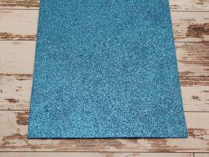 """Фоамиран """"глиттерный"""" Китай, толщина 2 мм, размер 20x30 см, цвет № Ф002 синий (1 уп = 10 листов)"""