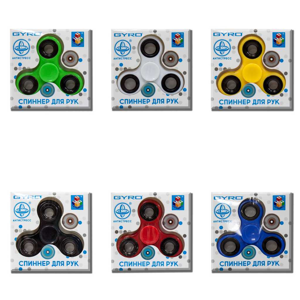 1toy Gyro спиннер-антистресс, 7 см, 6 цветов в ассорт., коробка