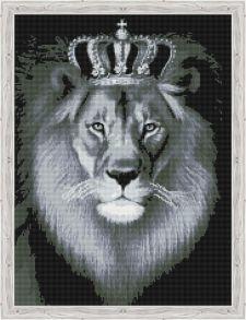 Алмазная мозаика «Чёрно-белый лев» 50x65 см