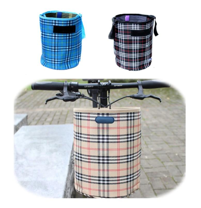 Складная подвесная тканевая корзина на руль велосипеда, 28х23 см. Цвет Бежевый