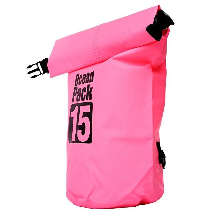 Водонепроницаемая сумка-мешок Ocean Pack, 15 L. Цвет   Розовый