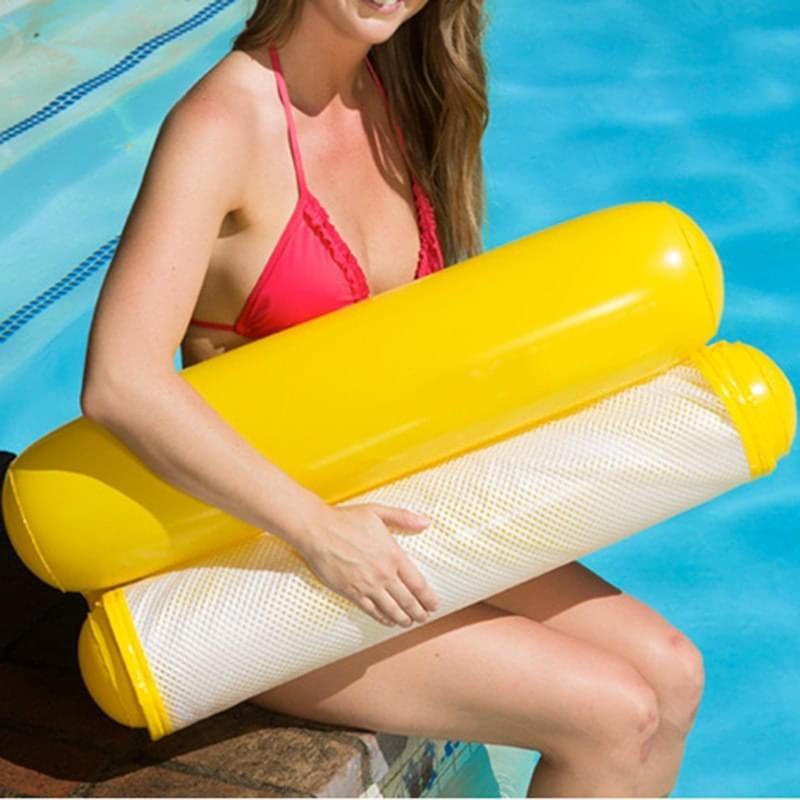 Надувной шезлонг для плавания Floating Bed, 130х73 см. Цвет  Жёлтый