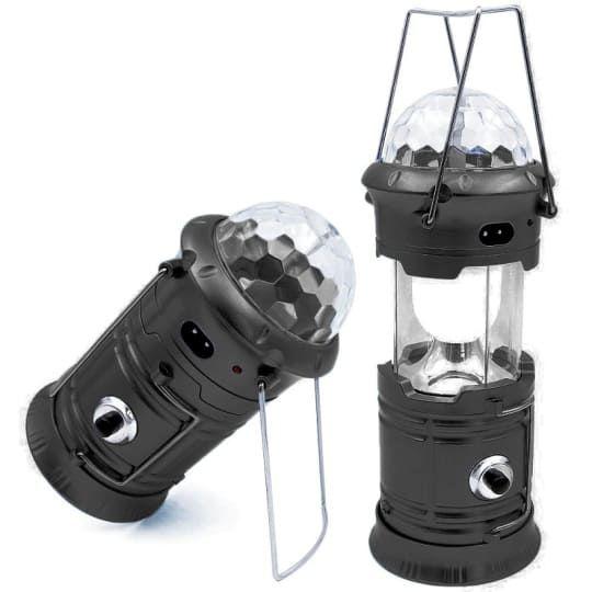 Складной кемпинговый фонарь с диско-шаром 4 в 1, 19 см. Цвет Чёрный  (без солнечной панели