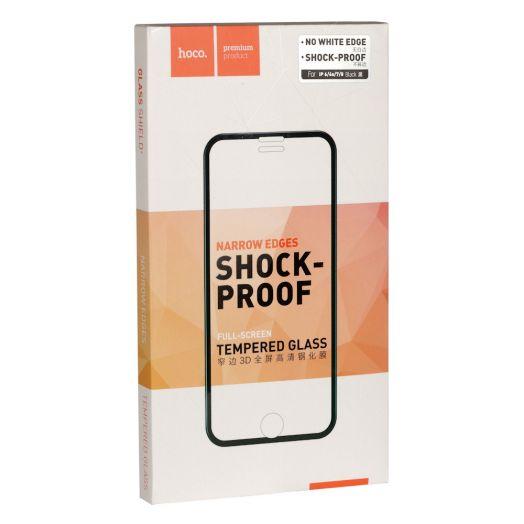 Защитное закаленное стекло Hoco Narrow Edges 3D для iPhone 6/6S/7/8(A11), черное