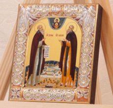 Икона Зосима и Савватий Соловецкие (9х10,5см)