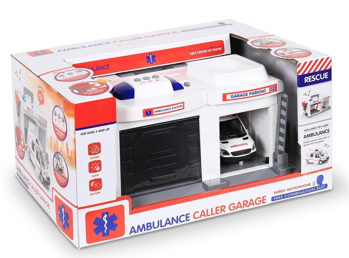 CLM-557 Парковка гараж с металической машинкой Скорая помощь