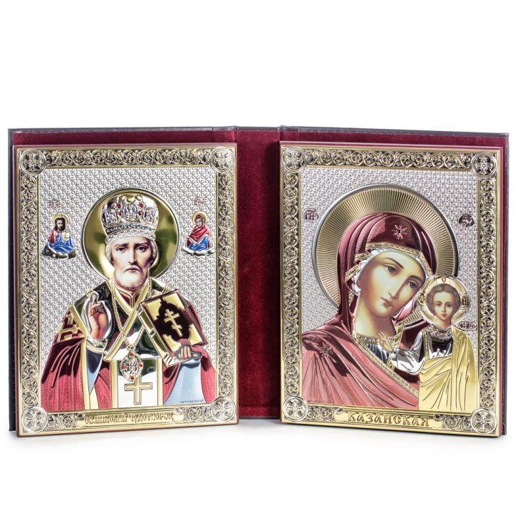 Складень: Казанская Икона и Николай Угодник (Италия, 14x19 см.)