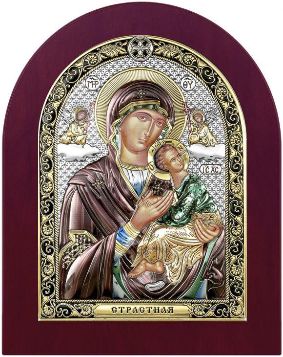 Серебряная Страстная икона Божией Матери (Италия, 17х22 см)