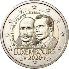 200 лет со дня рождения Генриха Оранского 2 евро Люксембург 2020 UNC