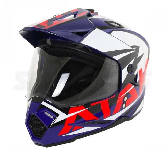 Шлем (мотард) Ataki JK802 Rampage синий/белый