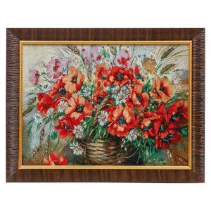 "E102-30x40 Картина из гобелена ""Маки и полевые цветы"" (35х45) 4889377"