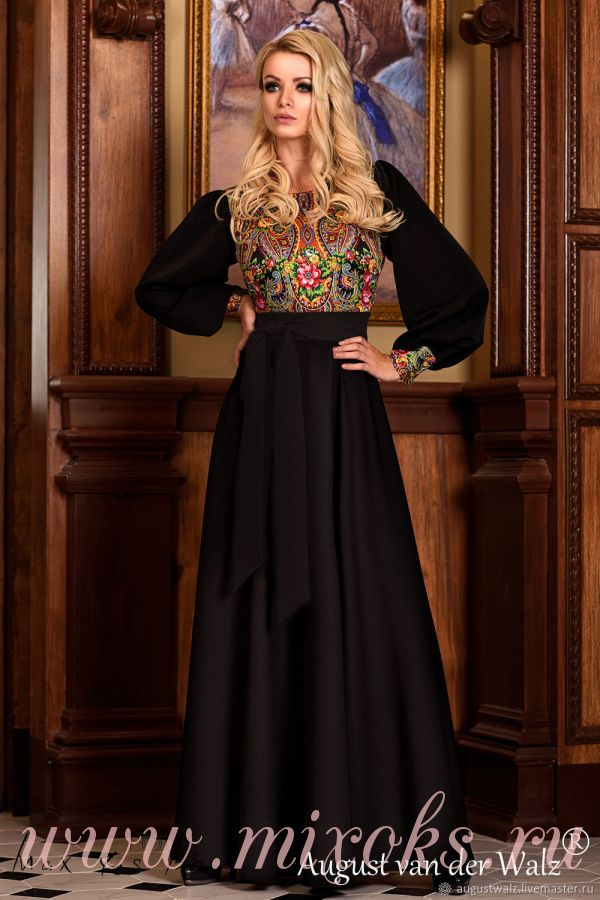 Славянское платье длинное с узором