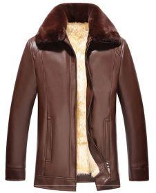 """Зимняя мужская кожаная куртка """"Оттава"""" коричневая"""