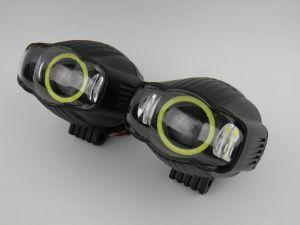 Светодиодная фара водительского свечения 30W с ангельскими глазками (комплект 2 шт.)