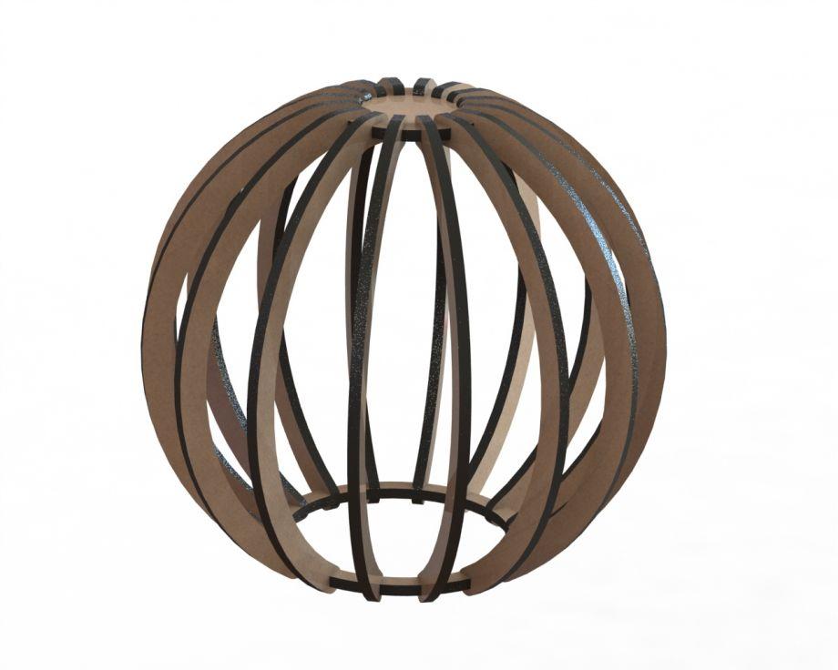 Деревянный светильник подвесной шар