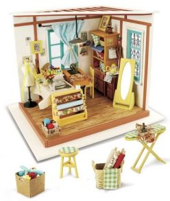 Набор для создания интерьера в миниатюре(Румбокс) «Кукольное ателье» 22.5*18.5*18см.