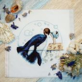 "Digital cross stitch pattern ""Orca kiss""."