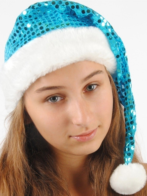 Голубой новогодний колпак