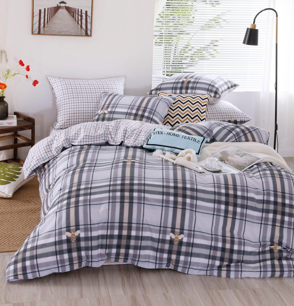 Комплект Евро  постельного белья Люкс-Сатин на резинке AR105
