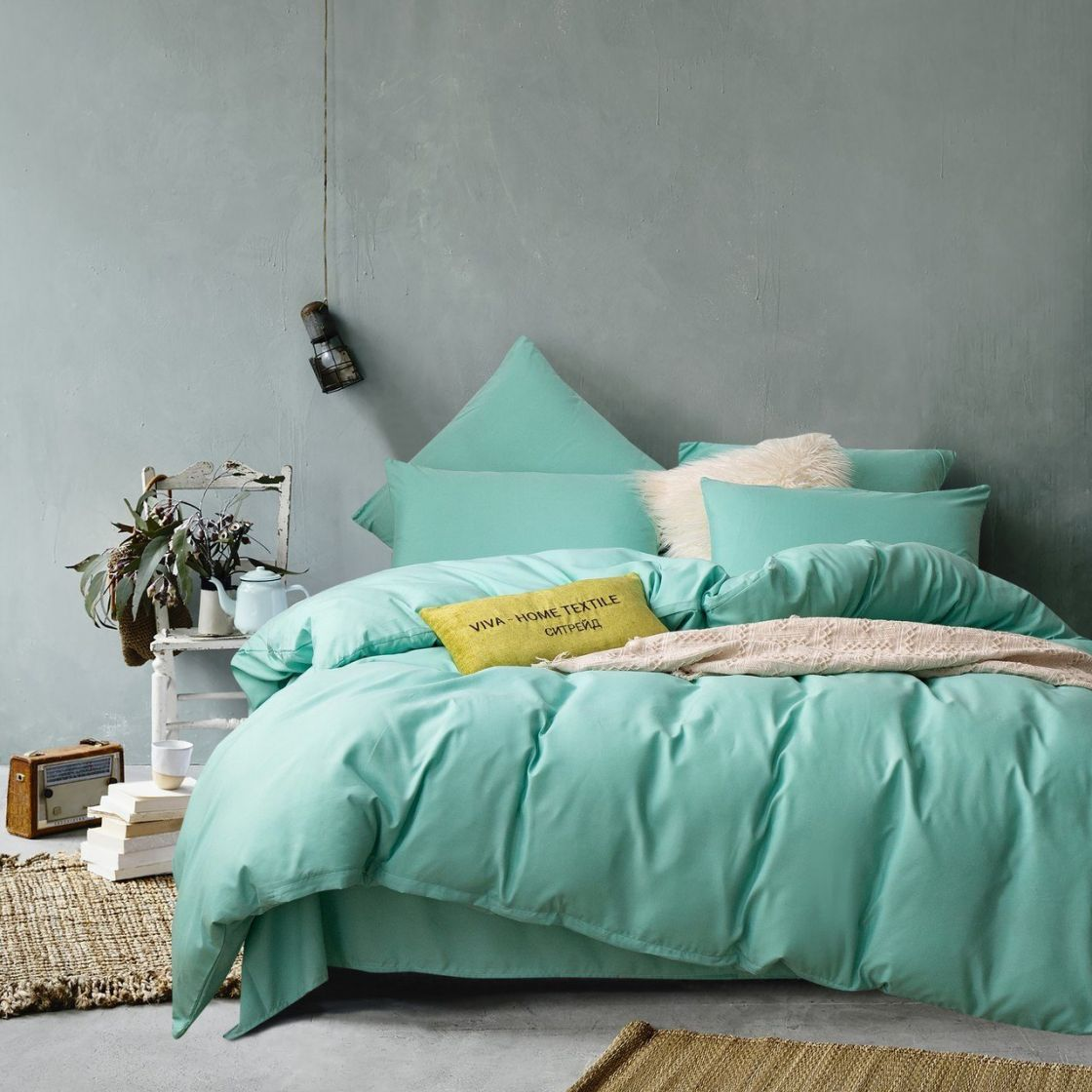 Комплект 2 спальный постельного белья однотонный Сатин CS025