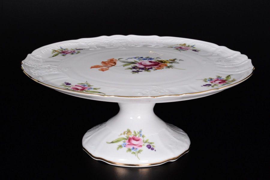Тарелка для торта на ножке 32 см Бернадотт Полевой цветок