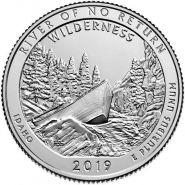 50 ПАРК США - 25 центов 2019 год, Айдахо, Резерват им. Франка Черча, Река, Лодка