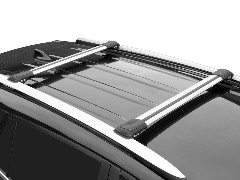 Багажник на рейлинги Nissan Murano Z51, 2007-14, Lux Hunter, серебристый, крыловидные аэродуги