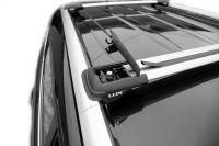 Багажник на рейлинги Kia Rio X-Line, Lux Hunter, серебристый, крыловидные аэродуги