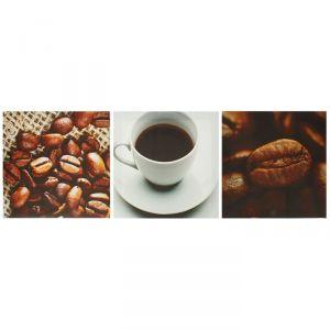 """Модульная картина на подрамнике """"Чашка зернового кофе"""", 3 шт. — 28?28 см, 28?84 см"""