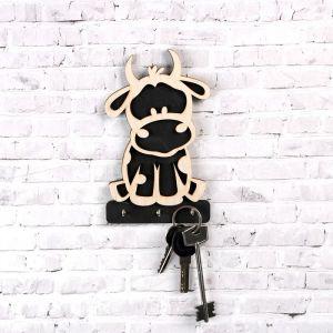 """Ключница """"Символ года 2021. Бычок"""", 3 крючка металлических, белая чёрная, 10?16.5 см 5078101"""
