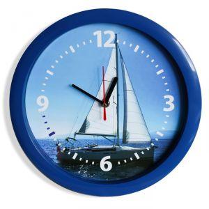 """Часы настенные, серия: Море, """"Парусник"""", синий обод, 28х28  см, микс 2436396"""