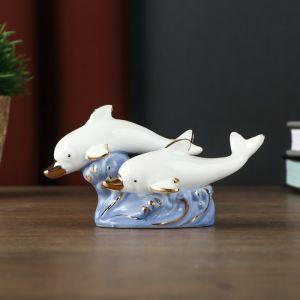 "Сувенир керамика ""Два белых дельфина на голубых волнах"" 8,5х6х11 см   4766925"