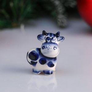 """Сувенир корова """"Ада"""", 4,1 см, гжель 4950558"""