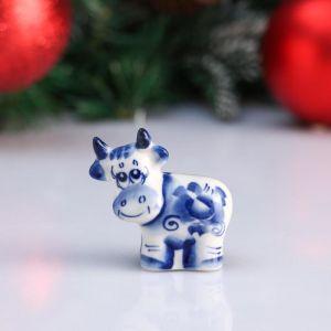 """Сувенир корова """"Глаша"""", 5,5 см, гжель 4950560"""
