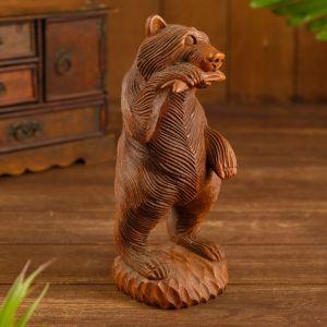 "Сувенир ""Медведь с рыбкой"" дерево 10х10х25 см   4575164"