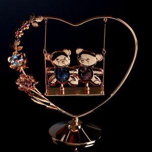 """Сувенир с кристаллами Сваровски """"Мишки на качелях"""" 14,4 х13,4 см   4266129"""