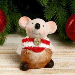 """Сувенир керамика """"Мышонок-толстяк в полосатом свитере с монеткой на счастье"""" 8,5х5,2х7 см   4169293"""