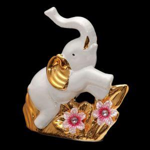 "Сувенир керамика ""Белый слон с цветами"" 14,5х14,8х5,2 см   3516528"