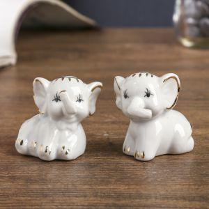 "Сувенир ""Два белых слонёнка"" набор 2 шт. 4,5х5х3 см"