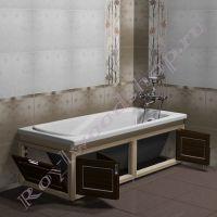 """Экран в ванну """"Лестер складной, береза/орех"""" 170 см / 150 см с торцевой дверкой"""