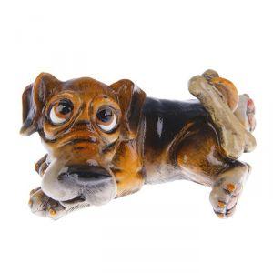 "Сувенир полистоун ""Пёс Феликс с косточкой"" 9,8х10х11,5 см 1759128"