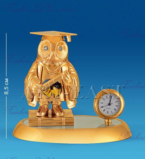 "Часы - фигурка Сова в мантии с камнями ""Swarovski"""