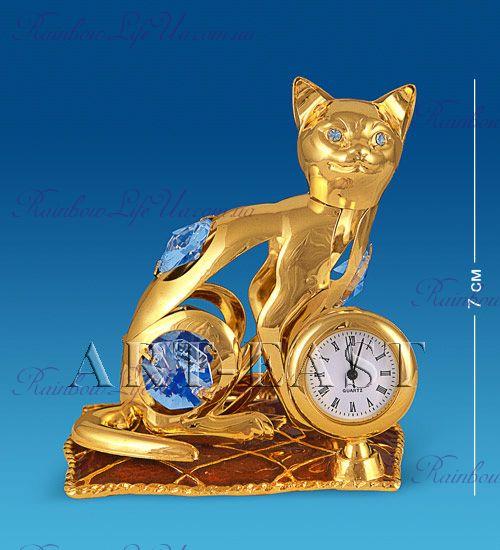 """Часы - фигурка Кошка на подушке с камнями """"Swarovski"""""""