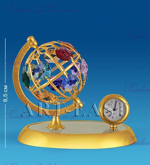 """Часы - фигурка Глобус с камнями """"Swarovski"""""""