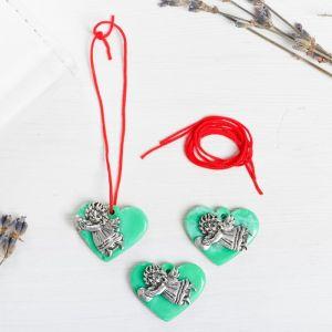 Набор талисманов на крас.нити «Ангел на сердце» 3 шт., зеленый, серебро, 2,5 х 2 см