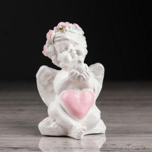 """Статуэтка """"Ангел с голубем"""" с розовой отделкой, 8 см"""