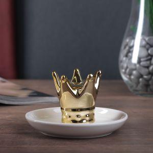 "Сувенир керамика подставка под кольца ""Корона"" золото 6,5х11х11 см   4556557"