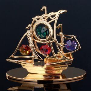 """Сувенир с кристаллами Сваровски """"Пиратский корабль"""" 10,1х8,7 см   4266140"""