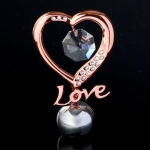 """Сувенир с кристаллами Сваровски """"Элегантное сердце Love"""" 8,3х5,1 см   4266135"""